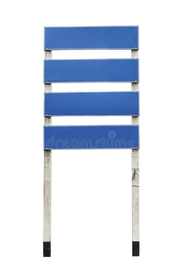 Blank Street Sign Street signs - four blank blue metal panels isolated on white background with Clipping Path.  royalty free stock image