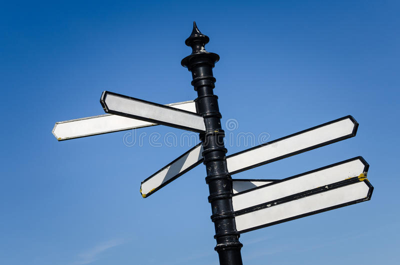 Blank Street Signs. Against Blue Sky royalty free stock image