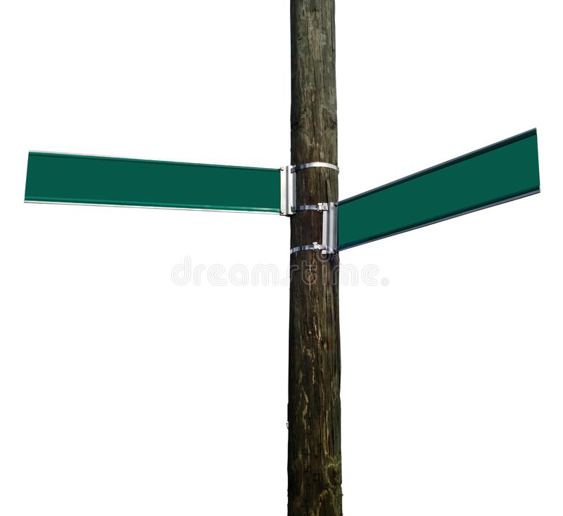 Blank Street Signs Attached to Telephone Pole. Blank street signs attached to wood telephone pole. Copy space. Isolated royalty free stock photos