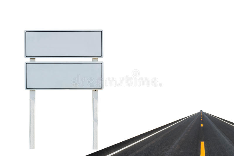 Blank Street Signs and street. Isolated on white background royalty free stock photography