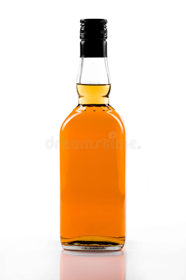 Blank strong alcohol bottle isolated on white stock photos