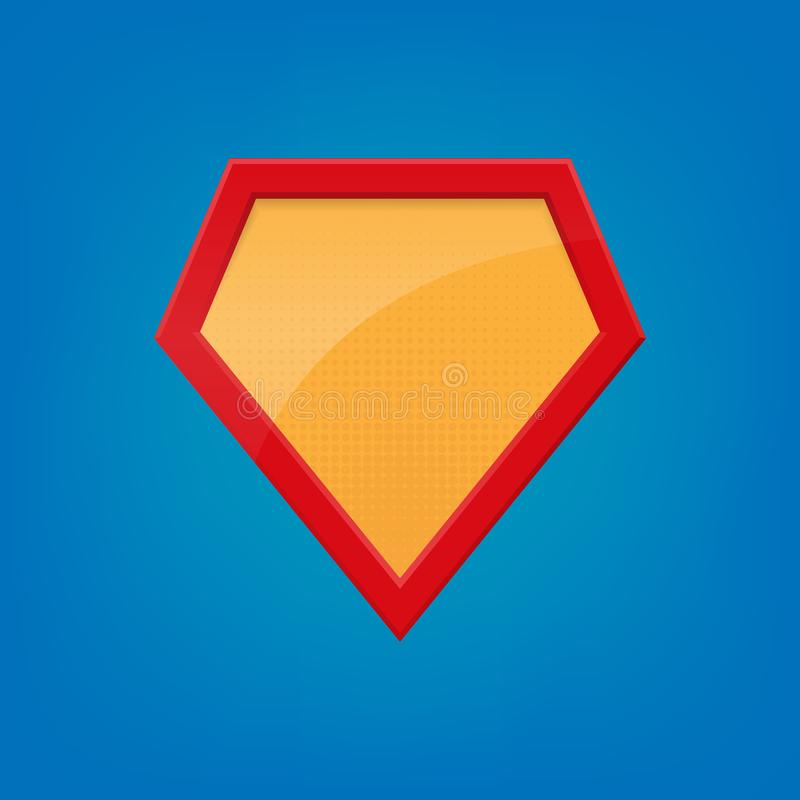 blank superhero badge superhero logo template on blue background
