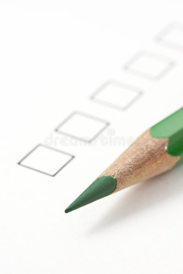 Blank Survey Check Box With Green Pencil Stock Image  Image Of