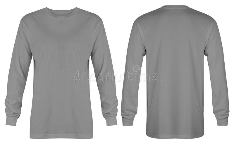 Blank t shirt long sleeve grey in front and back view isolated on white background stock photography
