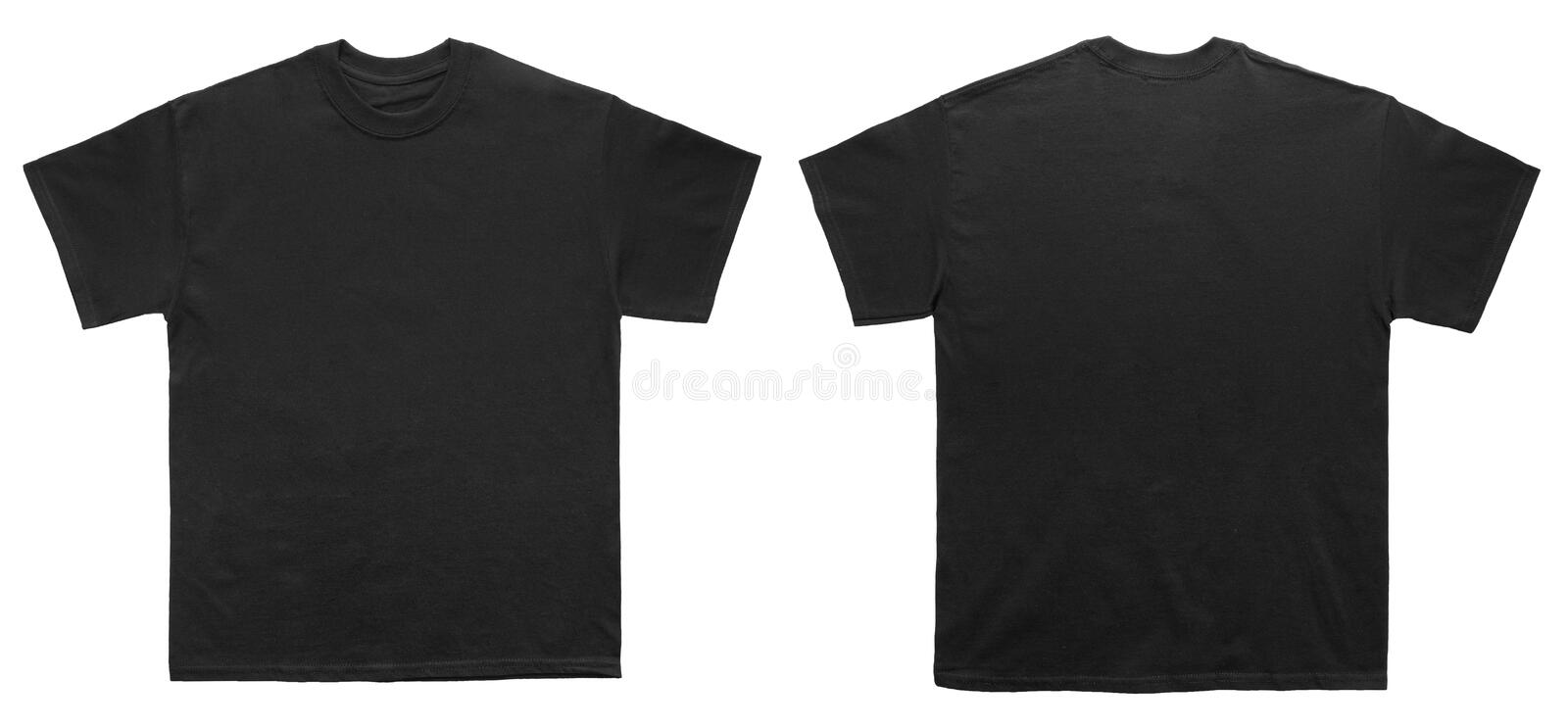 Blank T Shirt color black template front and back view royalty free stock photo