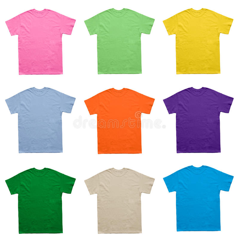 blank t shirt color set template on white background stock