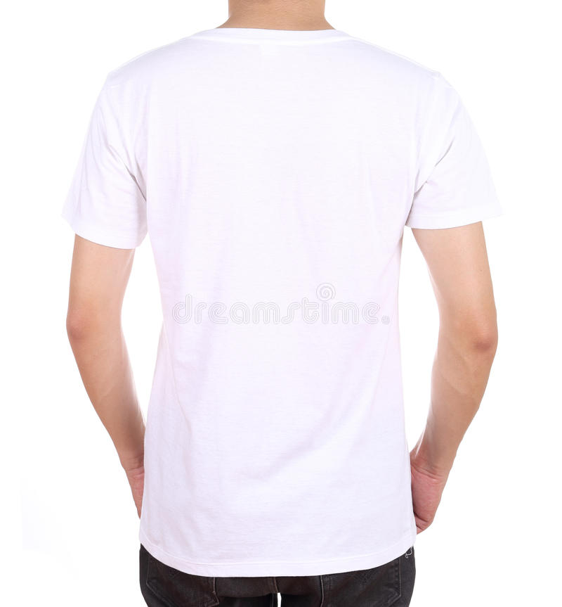 Blank t shirt on man back side stock image image of for White blank t shirt