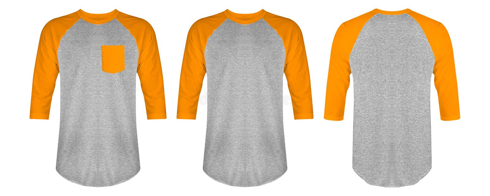da702ecf6 Blank t shirt raglan 3/4 sleeves pack front and back view with heather grey