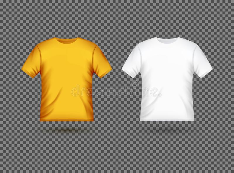 Blank t-shirt template clothing fashion. White and yellow shirt design with sleeve cotton uniform.  royalty free illustration