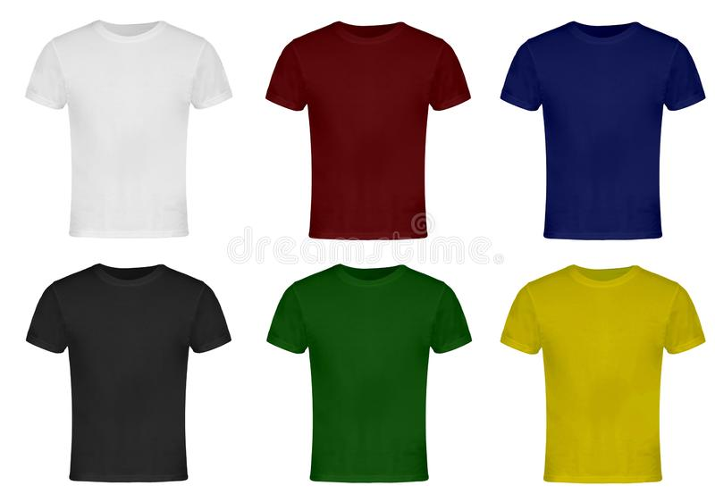 Blank T-shirts. White, Red, Blue, Gray, Green, Yellow. Front stock photos
