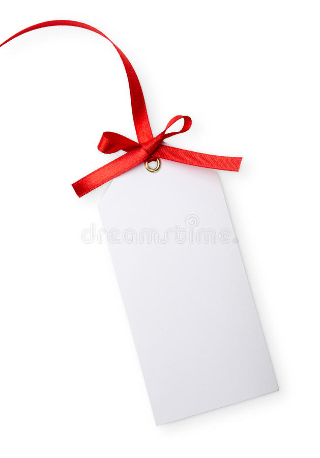 Blank tag. Close up of card note with red ribbon on white background stock image