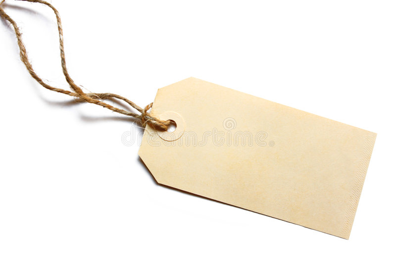 Blank Tag. Tied with brown string. Price tag, gift tag, sale tag, address label, etc royalty free stock photography