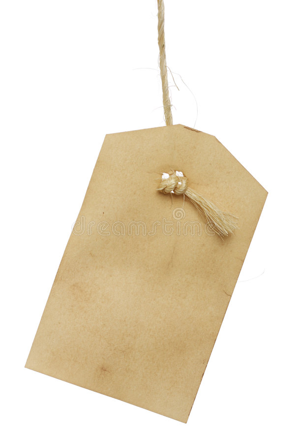 Blank tag. Vintage tag on string isolated on white stock image