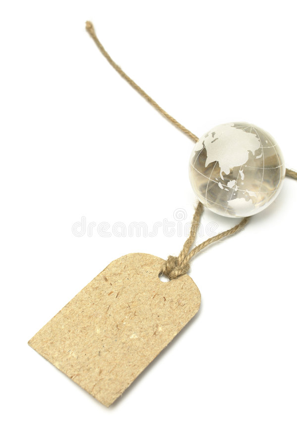 Blank tag and glass Earth royalty free stock photo