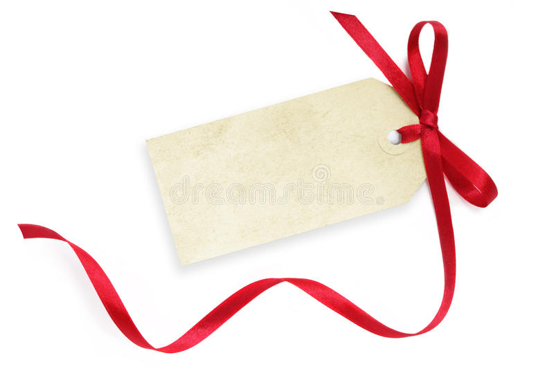 Blank Tag with Red Ribbon royalty free stock photo