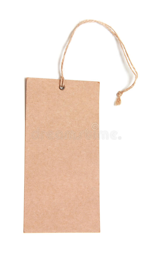 Blank tag tied with brown string. royalty free stock photos