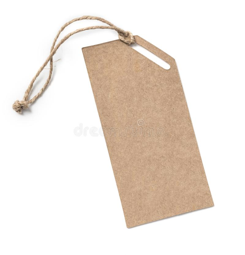 Blank tag tied with string. stock photos