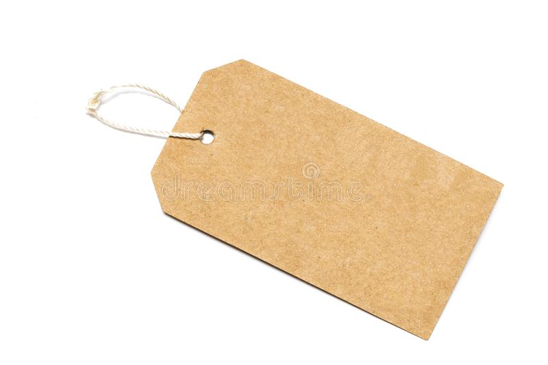 Blank tag tied with string .Paper label.Blank brown cardboard pr. Ice tag or label with thread isolated royalty free stock images