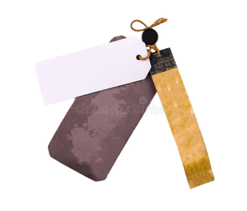 Blank tag tied with string. Price tag, gift tag, sale tag, address label royalty free stock photography