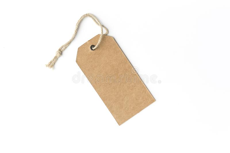 Blank tag tied with string. Price tag. stock photos
