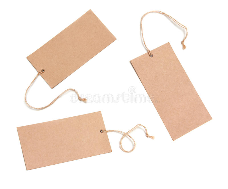 Blank tags tied with brown string royalty free stock image