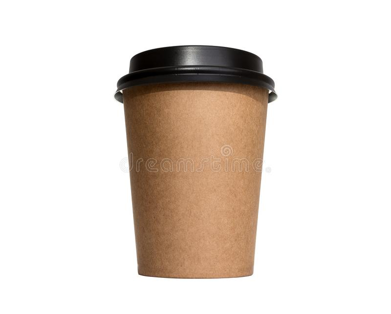 Blank take away kraft coffee cup isolated on white background. royalty free stock photo