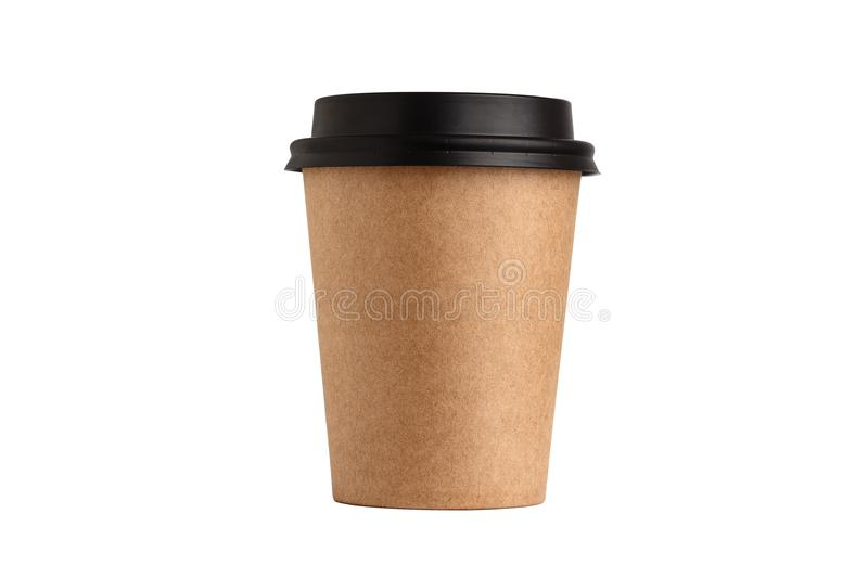 Blank take away kraft coffee cup on white background. royalty free stock photography