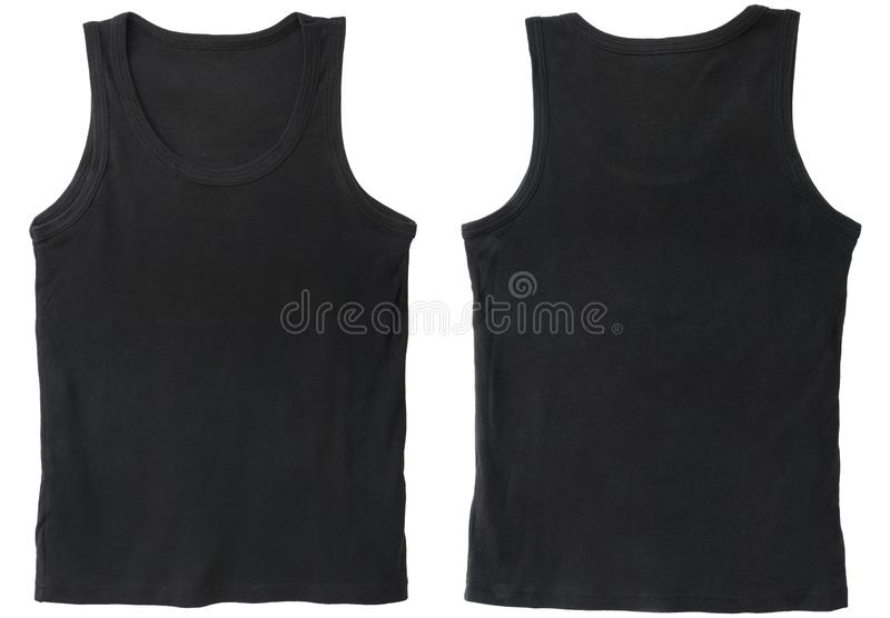 Blank tank top color black front and back view stock photography