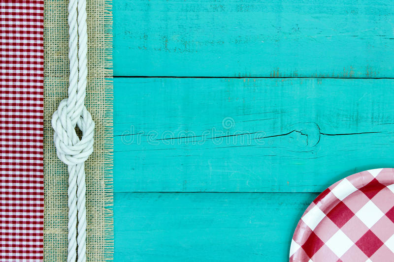 Blank Teal Blue Wood Picnic Sign With Plate Stock Photo