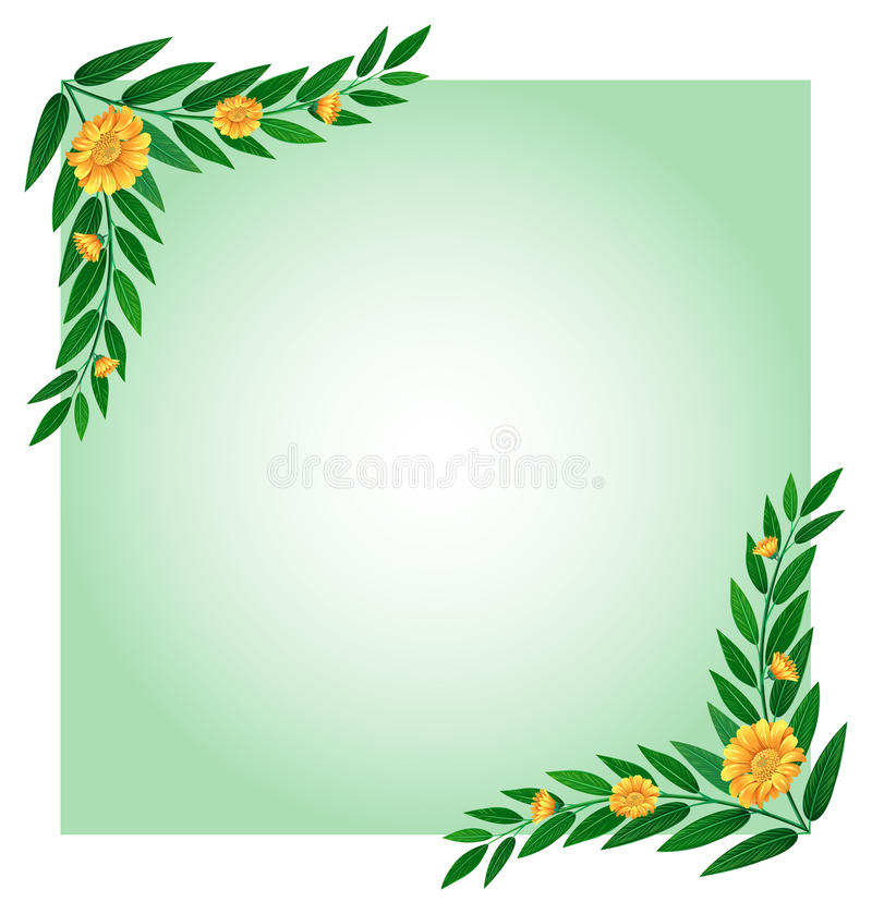 a blank template with a border made of flowers stock vector