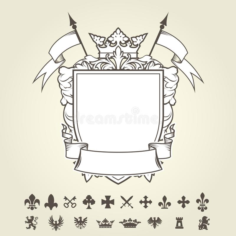 Blank Template Of Coat Of Arms  Shield And Set Of Heraldic S Stock