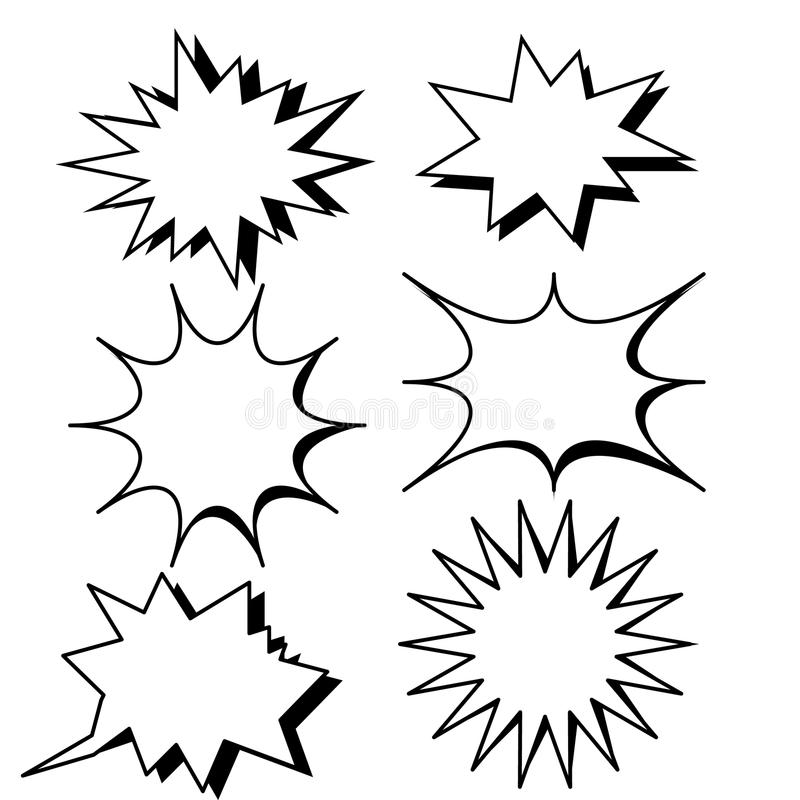 Blank template comic text speech bubble star set. Vector.Dialog empty box space with isolated white background.comics book sketch explosion sudden burst bomb stock illustration