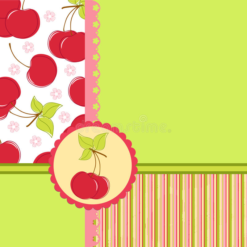 Free Blank Template For Cherry Greetings Card Stock Photo - 16803450