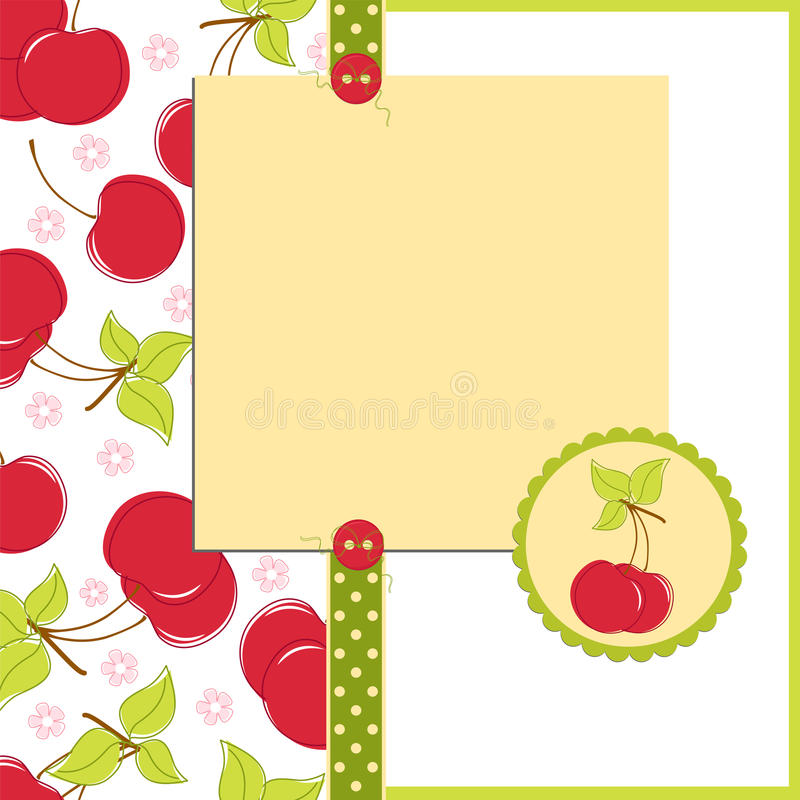 Free Blank Template For Cherry Greetings Card Stock Photos - 16803453