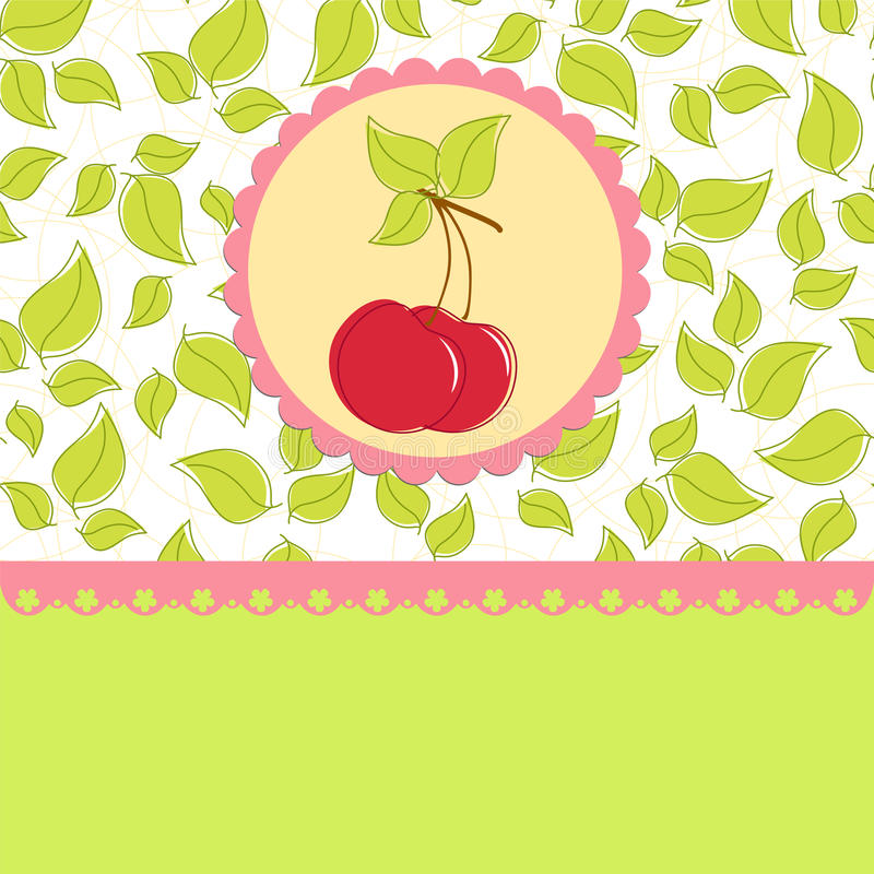 Free Blank Template For Cherry Greetings Card Stock Images - 16803454