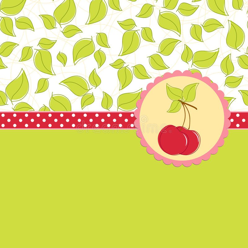 Free Blank Template For Cherry Greetings Card Stock Image - 16803461