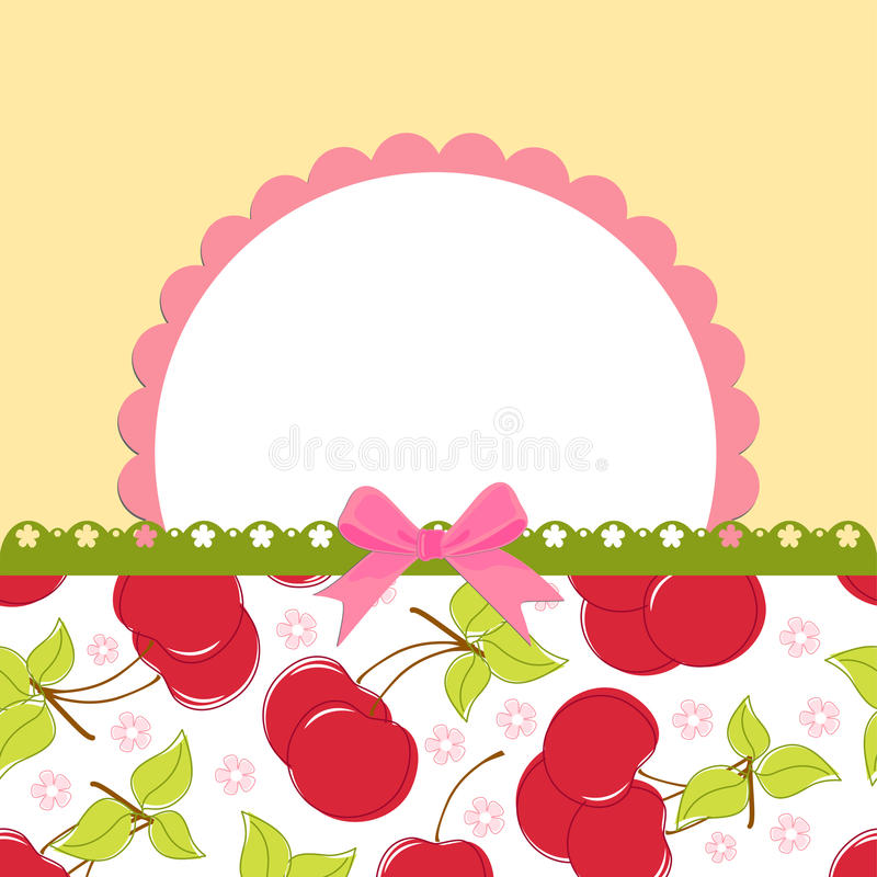 Free Blank Template For Cherry Greetings Card Stock Photos - 16803463
