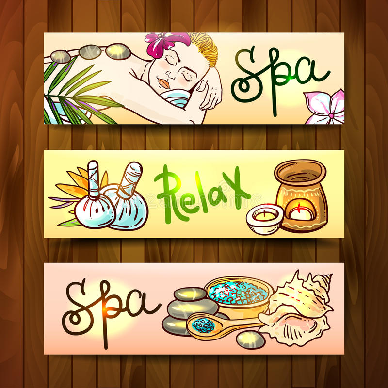 Blank template 450x450 RGB. Beautiful vector hand drawn banners spa. Spa woman gets relax spa massage. Stone massage royalty free illustration