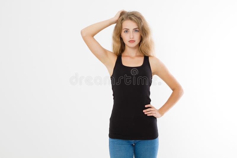 Blank template summer black t shirt. Blonde young woman in tshirt front view isolated on white background. Copy space and mock up. Skin and armpit care royalty free stock photography