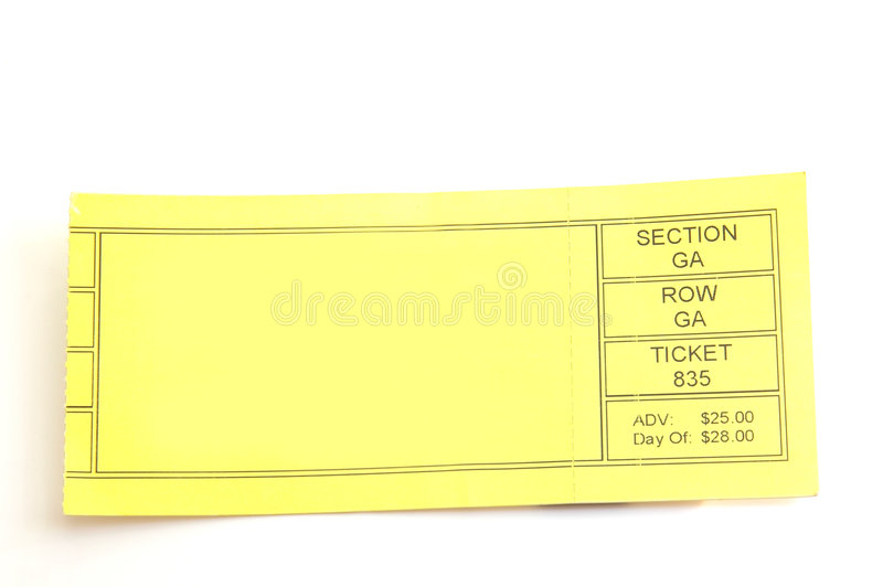 Blank ticket. Ticket stub with blank space to add custom text stock image