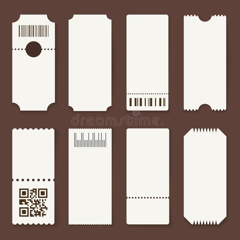 Blank tickets. Concert theater or airplane empty paper tickets, movie admit one coupons. Lottery isolated vector 3d royalty free illustration