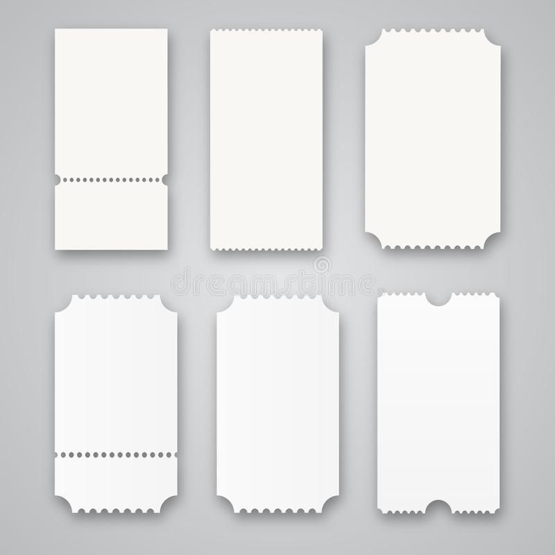 Blank tickets isolated on grey background. Vector illustration royalty free illustration