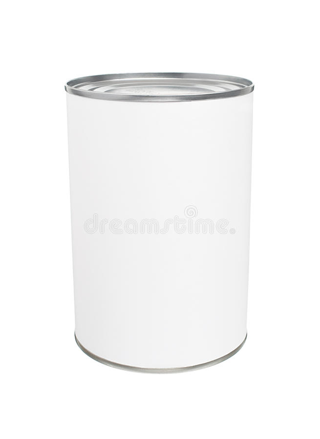 Blank Tin Can. Food Tin Can with Blank White Label Isolated on White Background stock photo