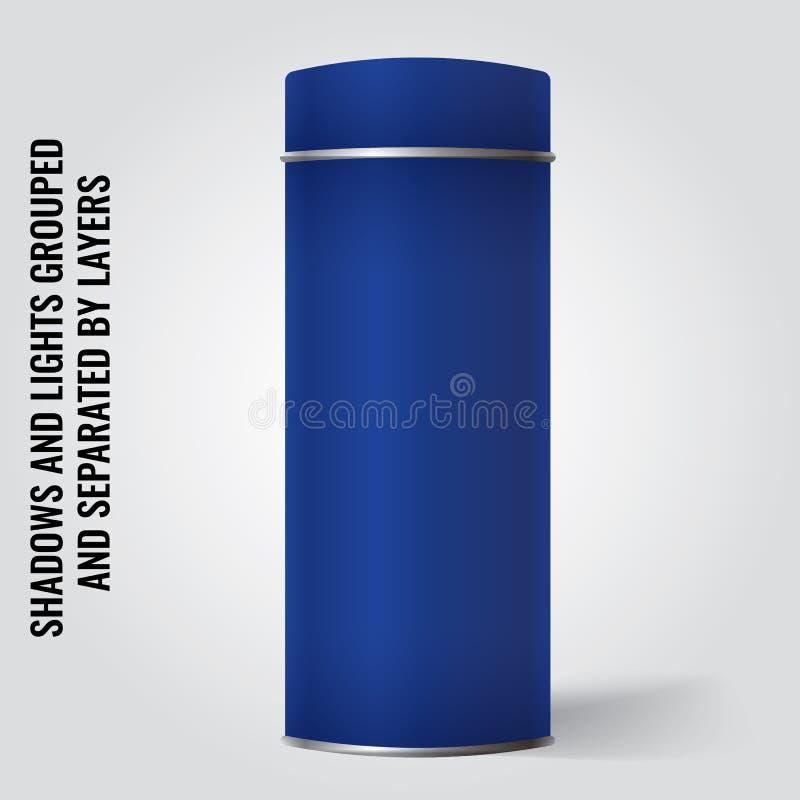 Blank Tin can packaging mockup. Tea, coffee, gift box. stock illustration