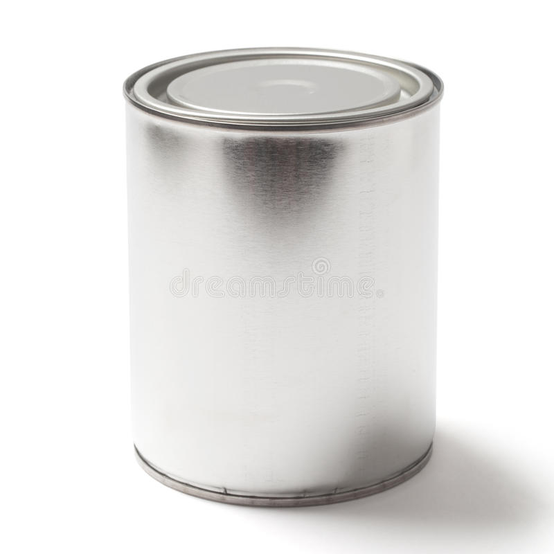 Blank Tin Paint Can on White with a Clipping Path. Closed blank tin paint can isolated on white background with a clipping path royalty free stock image