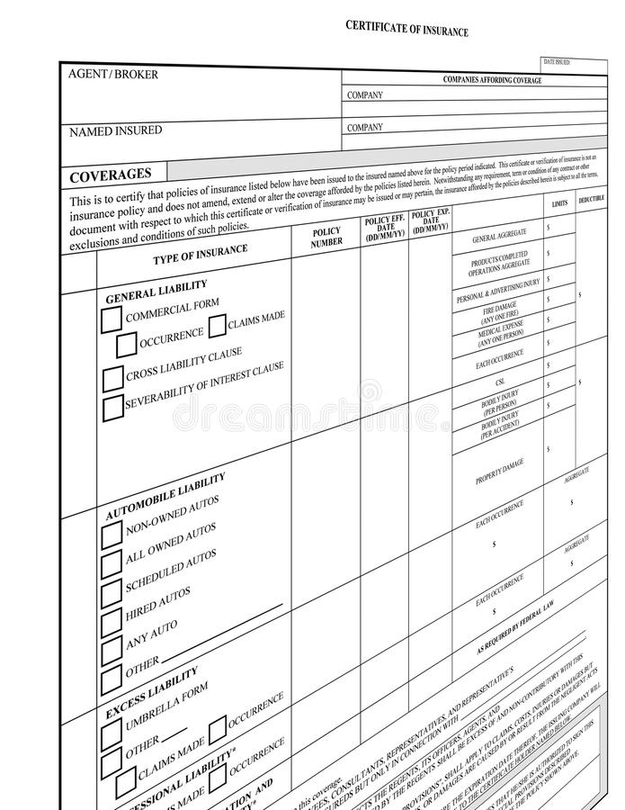 blank tom datalistförsäkring royaltyfria bilder