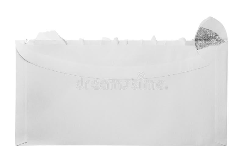 Blank torn open envelope. On white stock photo
