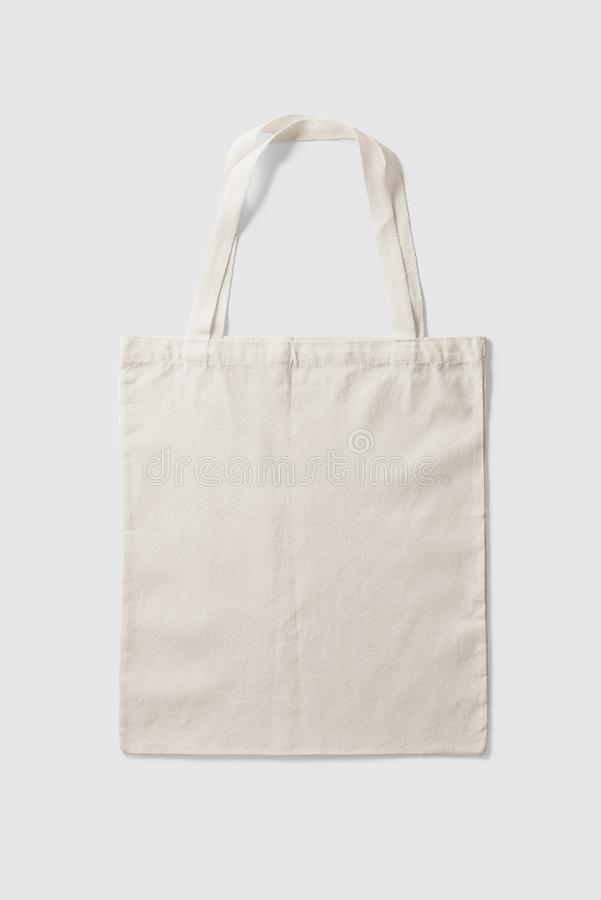 Blank Tote Canvas Bag Mockup on light grey background. High resolution royalty free stock images