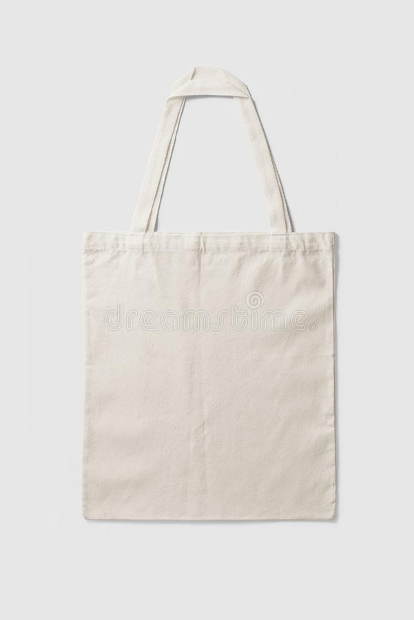 Blank Tote Canvas Bag Mockup on light grey background. stock photo