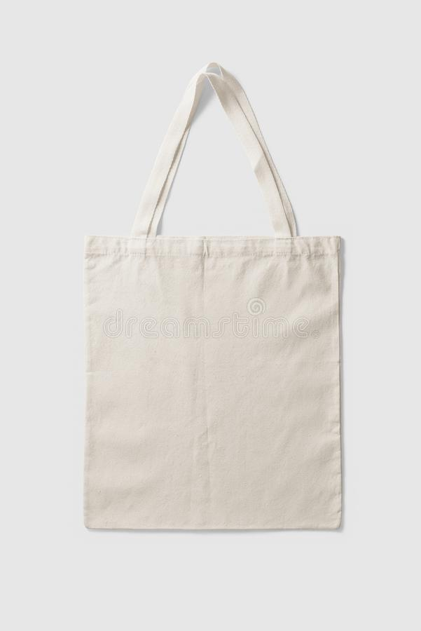 Blank Tote Canvas Bag Mockup on light grey background. High resolution royalty free stock photos